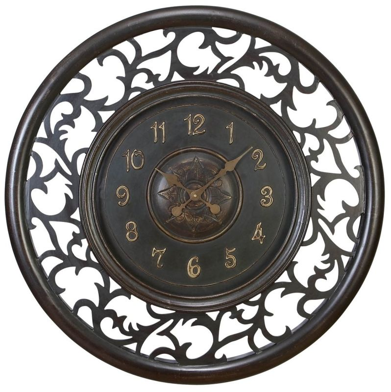 "Aspire Home Accents 35015 36"" Medieval Wall Clock Dark Antique Brown"