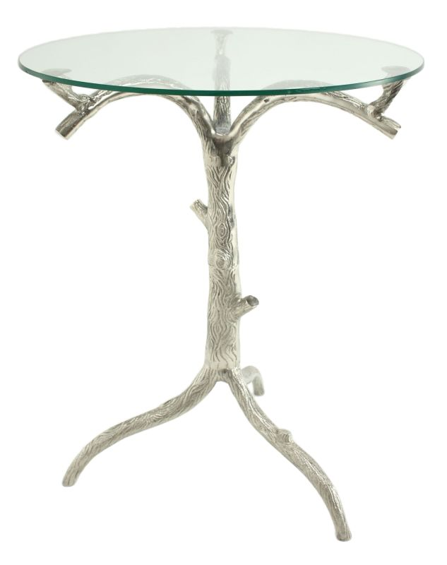 Aspire Home Accents 3673 Rielle Aluminum Tree Accent Table Silver