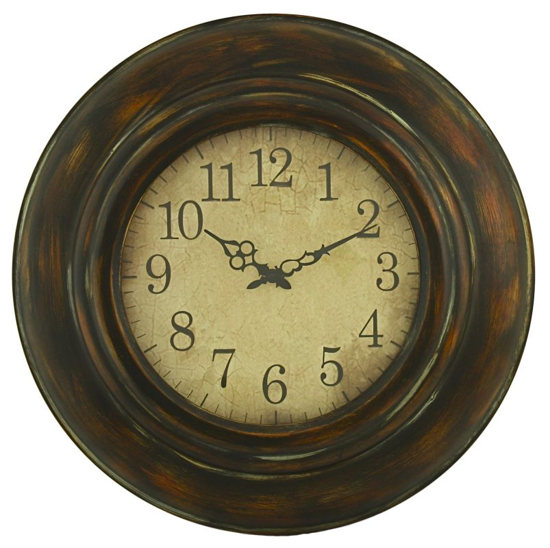 Aspire Home Accents 3780 Cardiff Round Wall Clock Brown Home Decor
