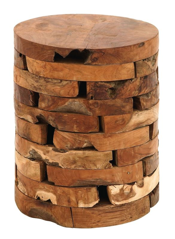 Aspire Home Accents 38410 Natural Teak Wood Stool Brown Furniture