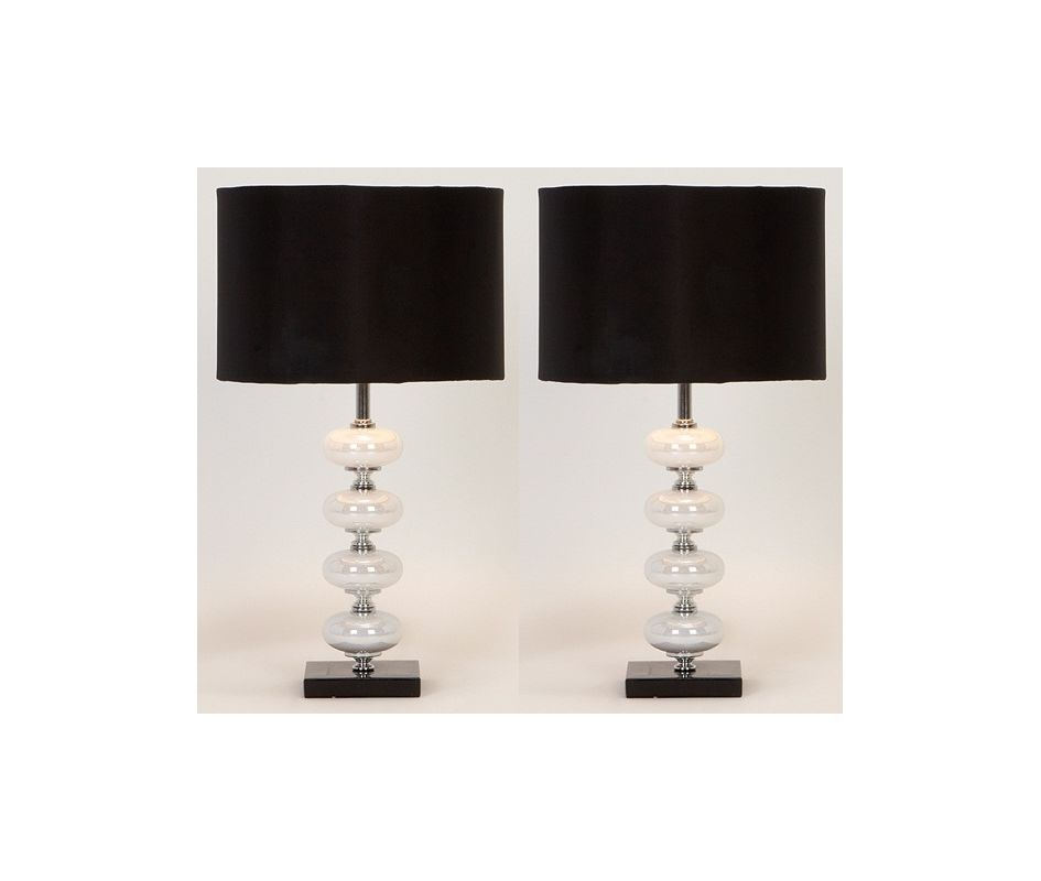 Aspire Home Accents 40023 Libby Table Lamp (Set of 2) Black / White /