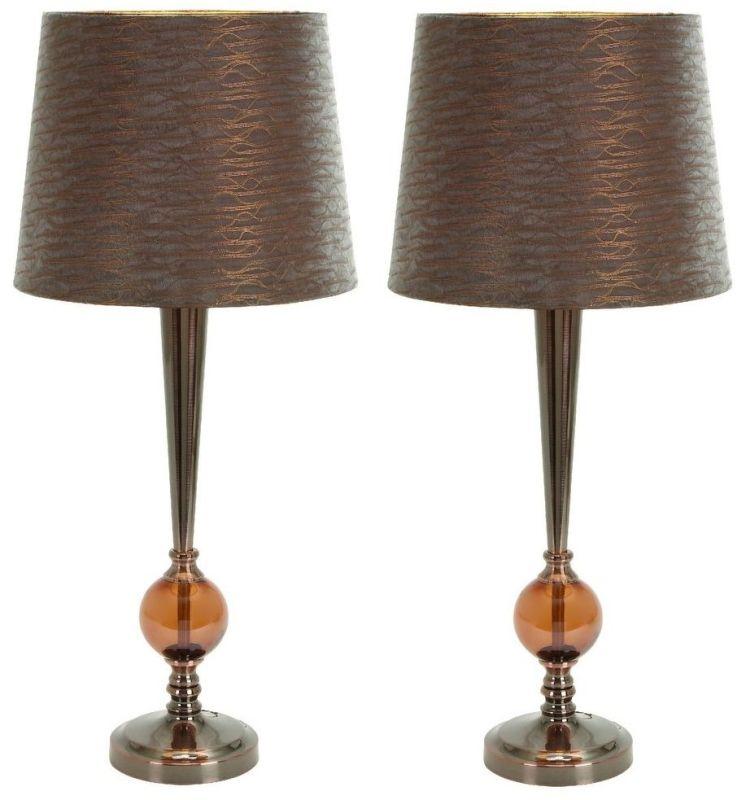 Aspire Home Accents 40077 Kiara Modern Buffet Lamp (Set of 2) Brown