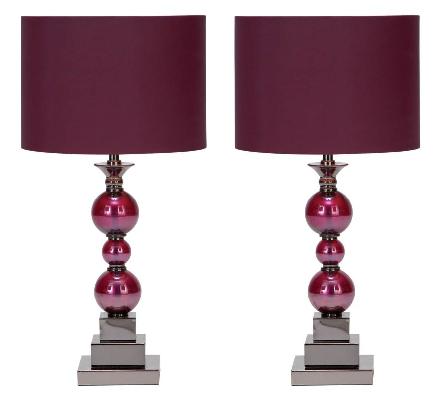 Aspire Home Accents 40101 Bennie Table Lamp (Set of 2) Purple Lamps