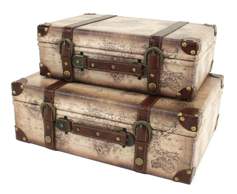 Aspire Home Accents 4115 Windsor Suitcase Trunks (Set of 2) Beige /