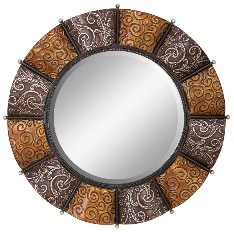 """Aspire Home Accents 42714 33"""" Round Metal Wall Mirror Antique Silver /"""