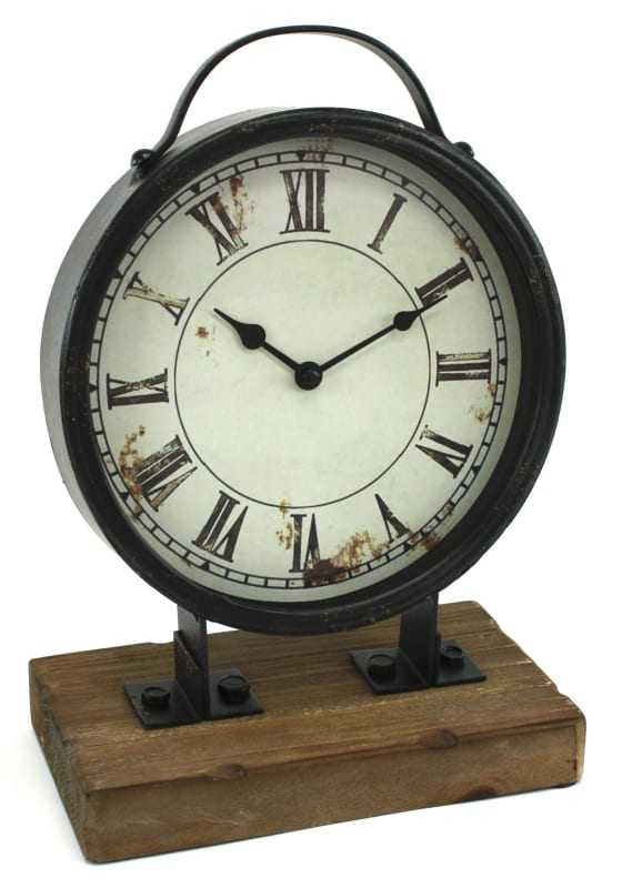 Aspire Home Accents 5500 Franklin Industrial Table Clock Black / Brown