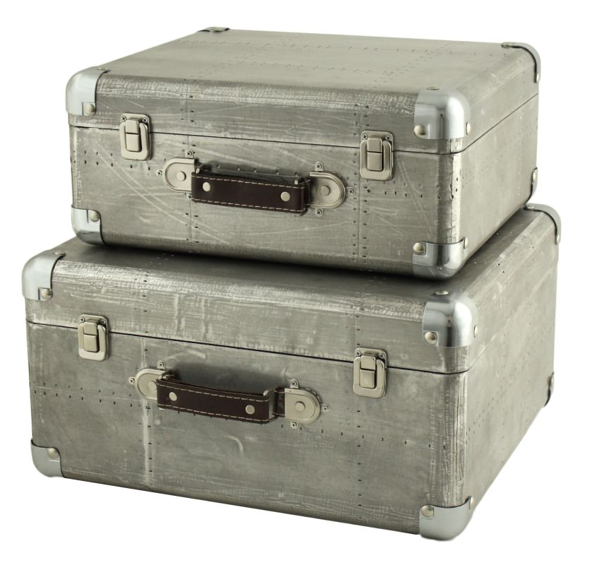 Aspire Home Accents 5751 Hagen Suitcase Trunks (Set of 2) Gray Home