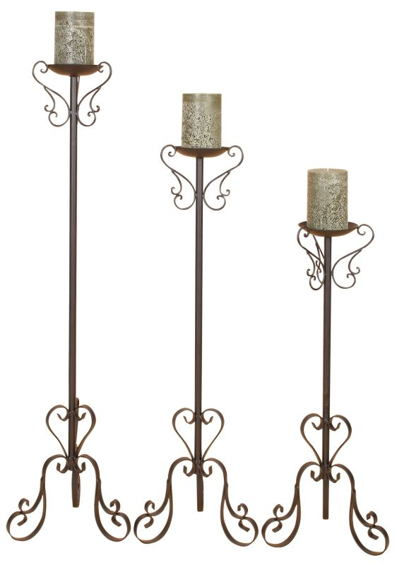 Aspire Home Accents 57819 Tall Candle Holder Set Black Home Decor