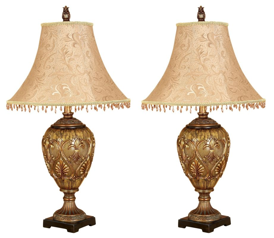 Aspire Home Accents 58098 Dessa Table Lamp (Set of 2) Gold Lamps Table