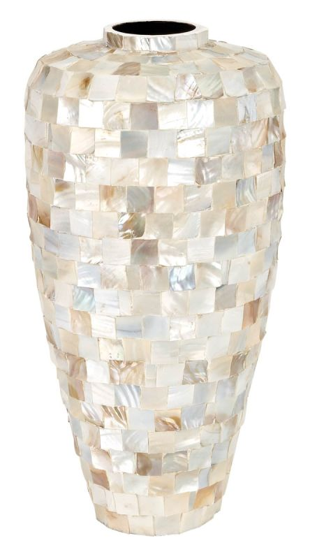 Aspire Home Accents 60823 Ceramic Mother of Pearl Vase Cream Home