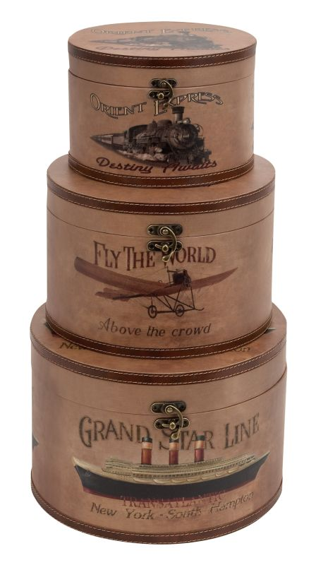 Aspire Home Accents 62226 World Traveler Round Box (Set of 3) Brown