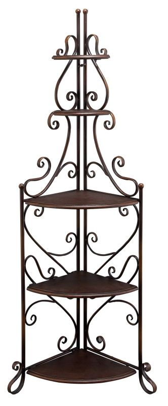 Aspire Home Accents 63165 Jeana Corner Bakers Rack Brown Home Decor