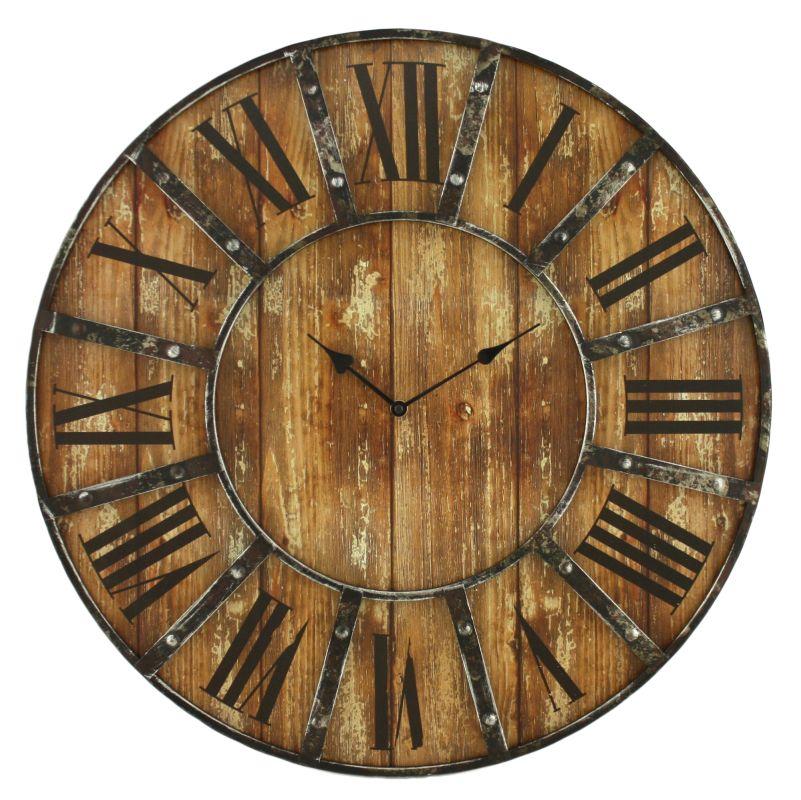 Aspire Home Accents 6471 Edmonson Wall Clock Brown Home Decor Wall