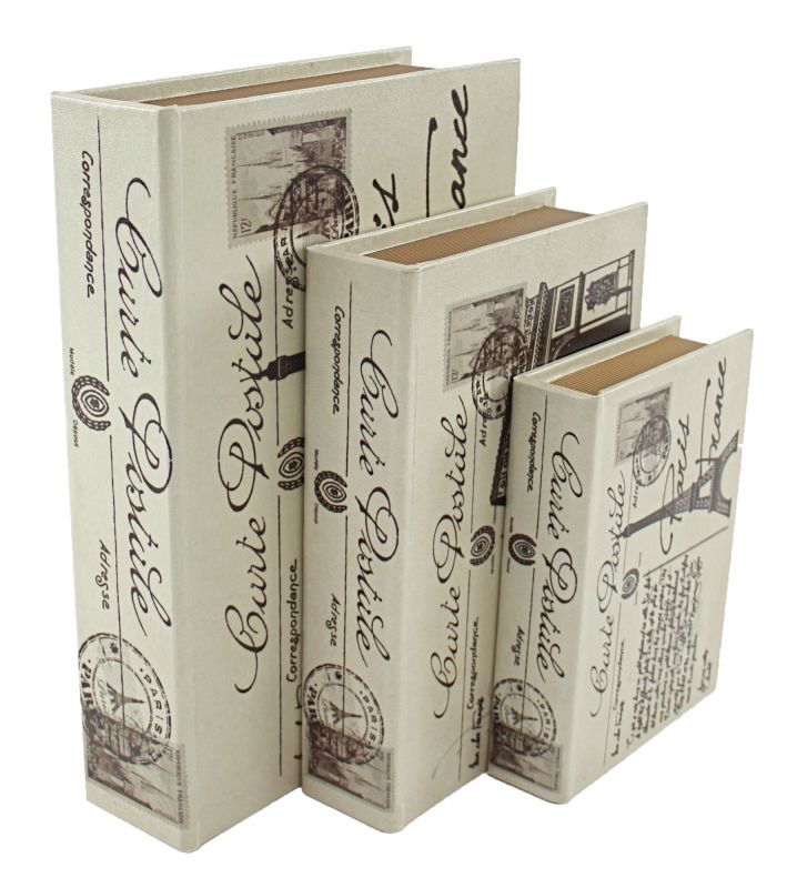 Aspire Home Accents 6660 Paris Faux Book Boxes (Set of 3) White Home