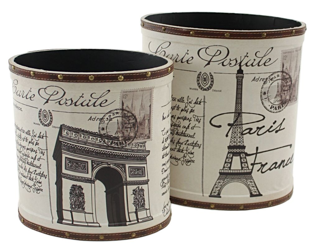 Aspire Home Accents 6705 Paris Trash Canisters (Set of 2) White Home