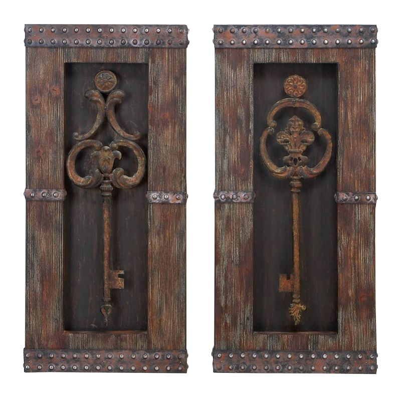 Aspire Home Accents 68402 Antique Key Wood Wall Decor (Set of 2)
