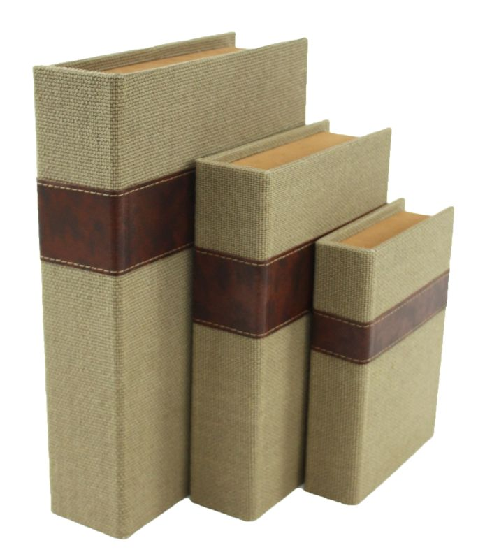 Aspire Home Accents 6939 Madeline Faux Book Boxes (Set of 3) Brown