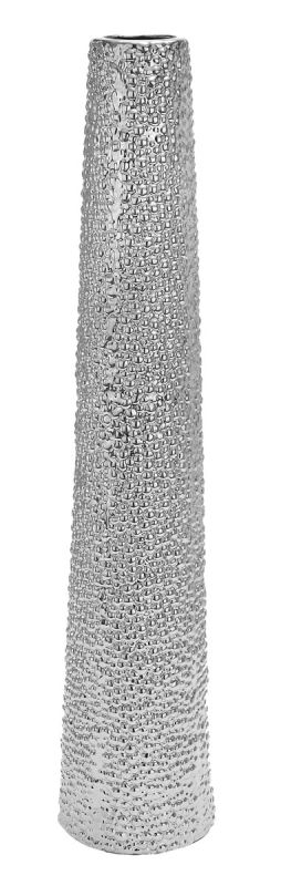 Aspire Home Accents 71679 Tall Slender Ceramic Floor Vase Silver Home