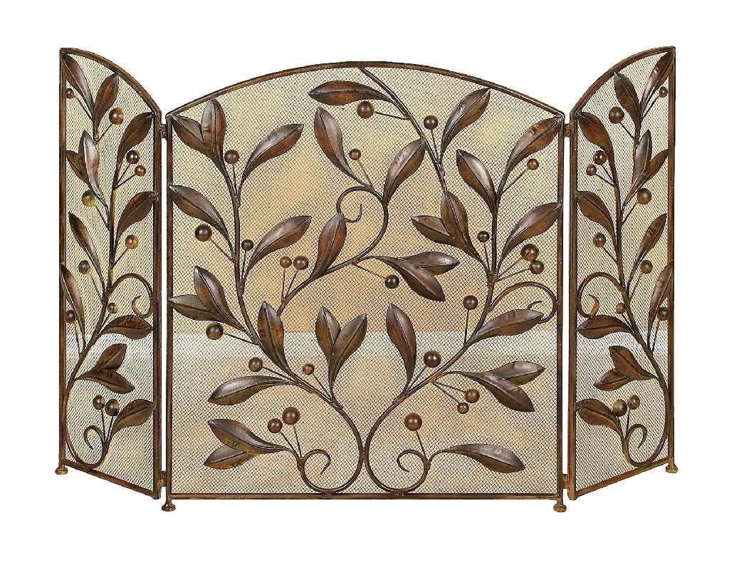 Aspire Home Accents 71889 Metal Leaves Fireplace Screen Brown Home