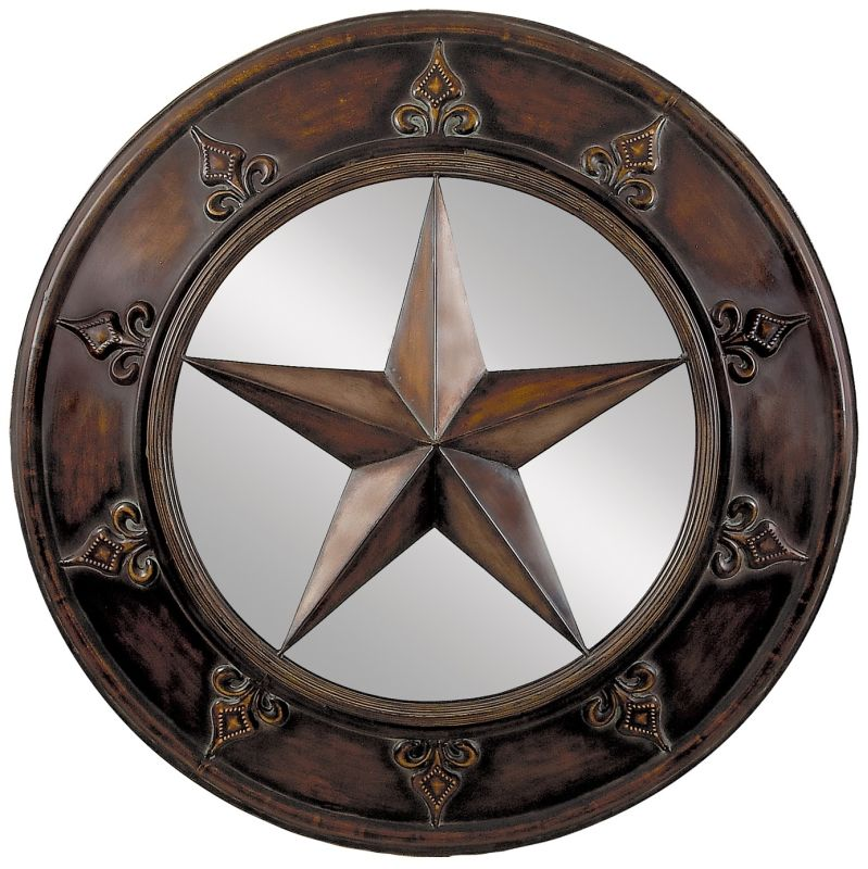 "Aspire Home Accents 75718 32"" Star Plaque Mirror Brown Home Decor"
