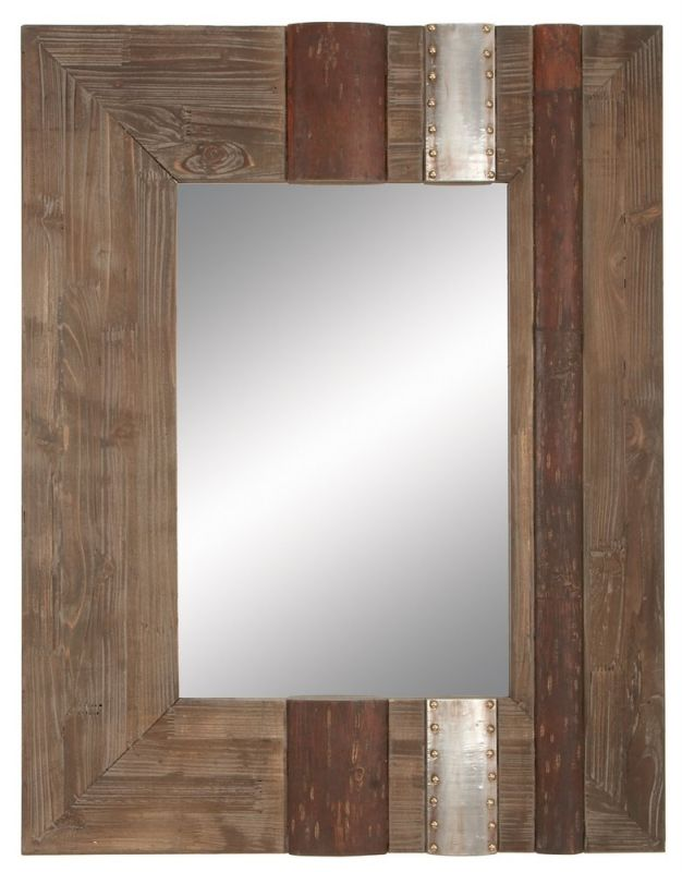 "Aspire Home Accents 78344 36"" Rustic Wood Wall Mirror Brown Home Decor"