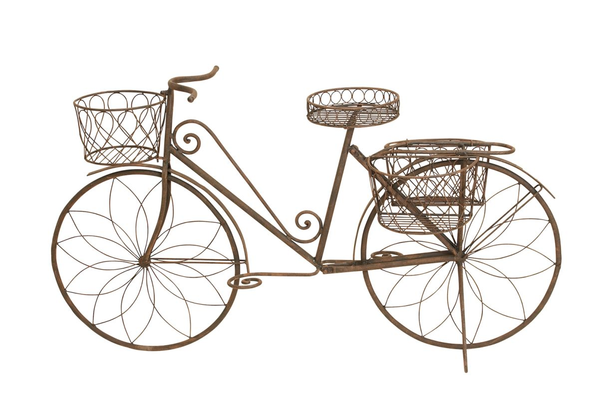 Aspire Home Accents 79182 Metal Bicycle Garden Planter Rustic Brown