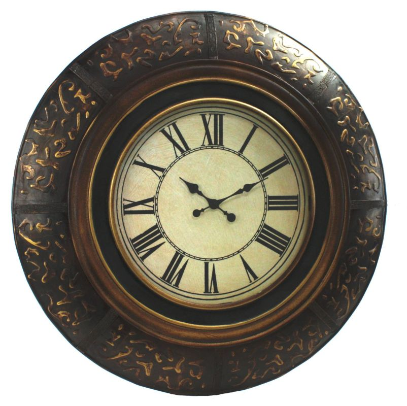 """Aspire Home Accents 89223 35"""" Round Wall Clock Black / Gold Home Decor"""