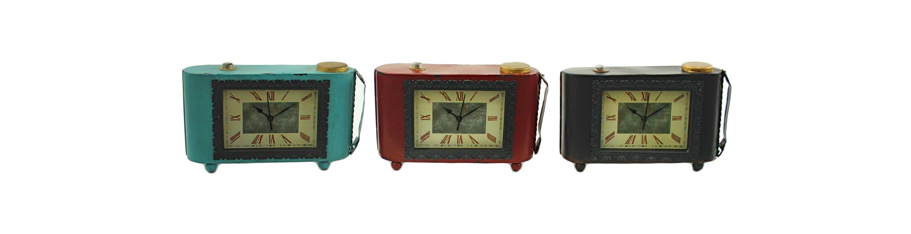 Aspire Home Accents 9182 Helene Table Clocks (Set of 3) Blue / Red /