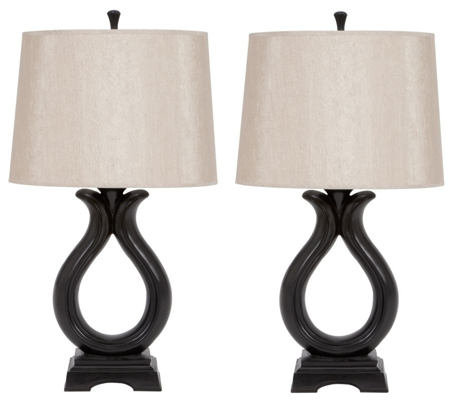 Aspire Home Accents 95711 Camilla Table Lamp (Set of 2) Black / Tan
