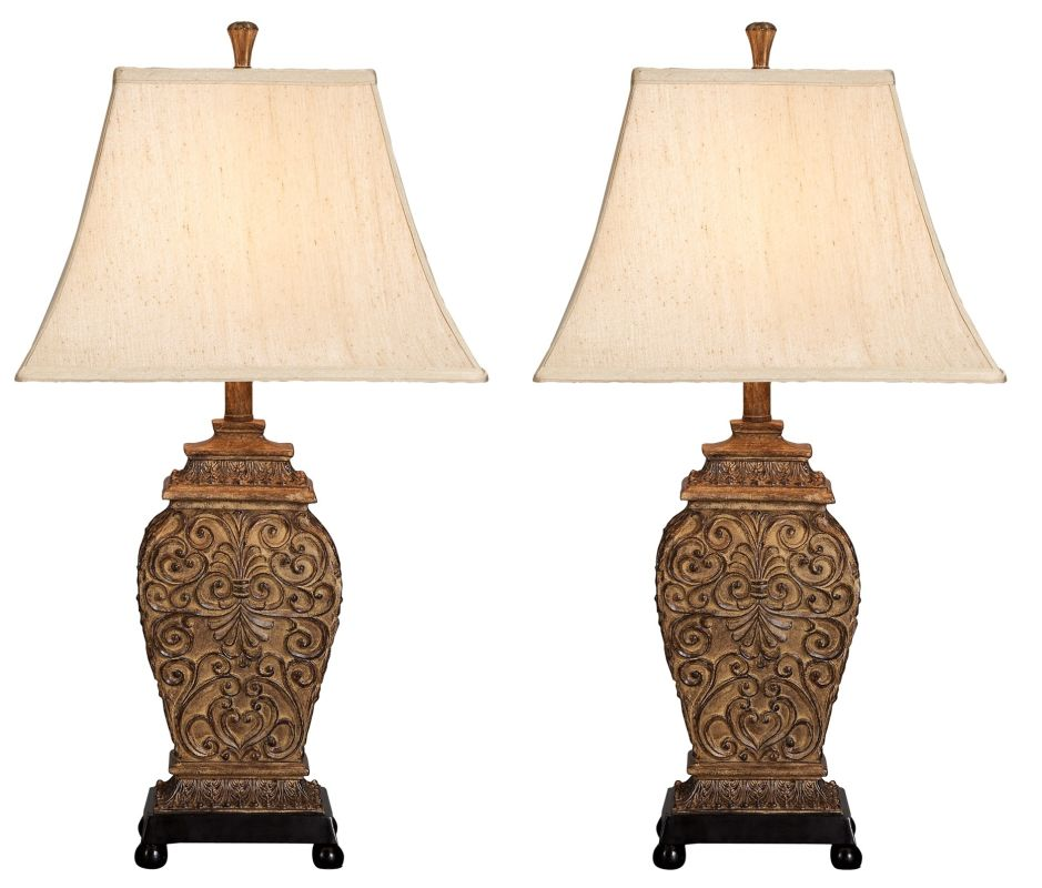 Aspire Home Accents 95727 Fallon Table Lamp (Set of 2) Brown / Beige
