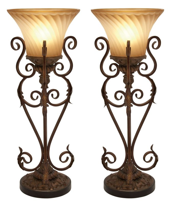 Aspire Home Accents 95779 Lisette Torchiere Table Lamp (Set of 2)