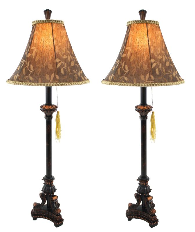 Aspire Home Accents 9989 Eleanor Buffet Lamp (Set of 2) Black / Brown