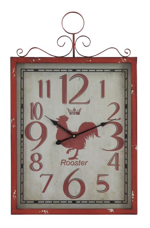 Aspire Home Accents 1250 Red Rooster Wall Clock Red Home Decor Wall