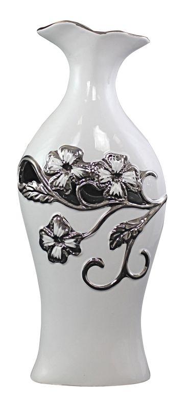 Aspire Home Accents 1596 Ophelia Ceramic Vase White Home Decor Vases