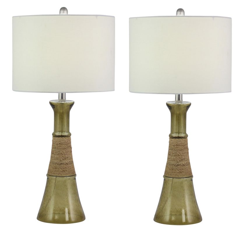 Aspire Home Accents 1890 Maura Glass Table Lamp (Set of 2) Brown Lamps
