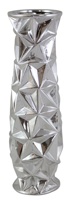 Aspire Home Accents 3374 Deanna Abstract Ceramic Vase Silver Home