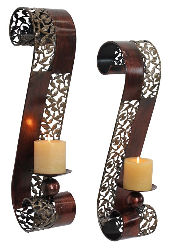 Aspire Home Accents 3463 Trish Candle Wall Sconce (Set of 2) Brown