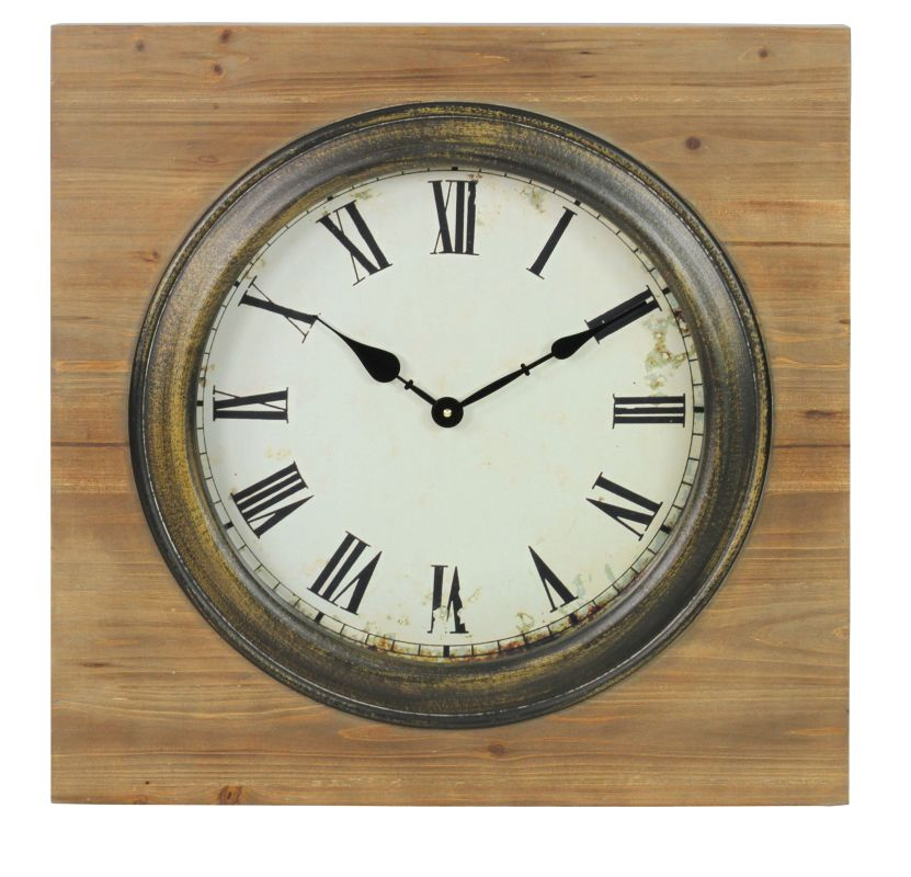 Aspire Home Accents 4097 23-1/2 Inch Square Framed Wood Clock from the