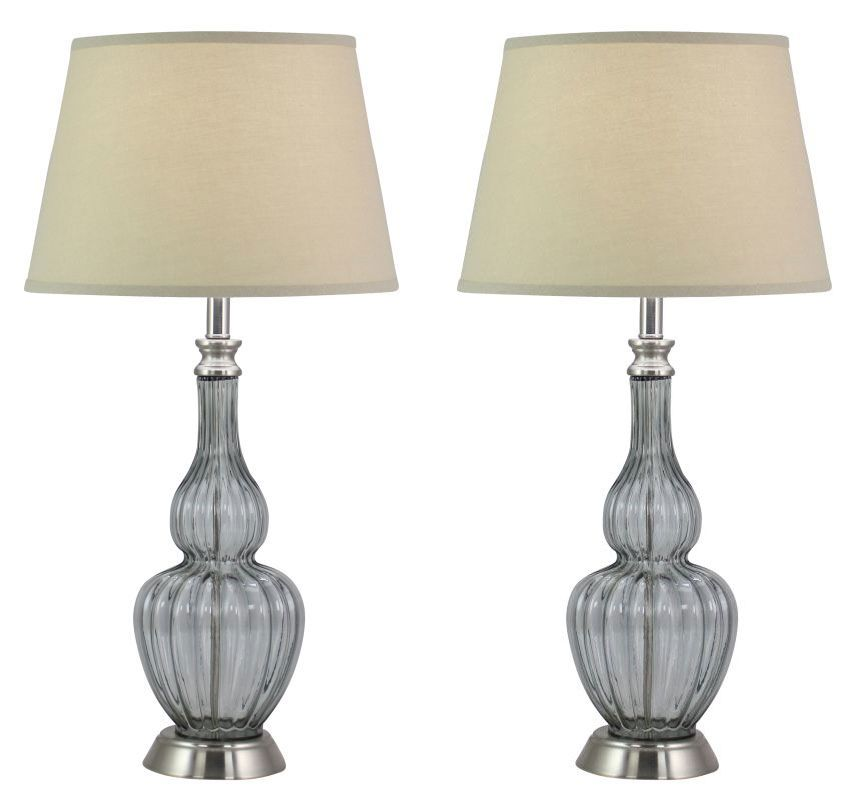 Aspire Home Accents 4352 Milano Glass Table Lamp (Set of 2) Clear