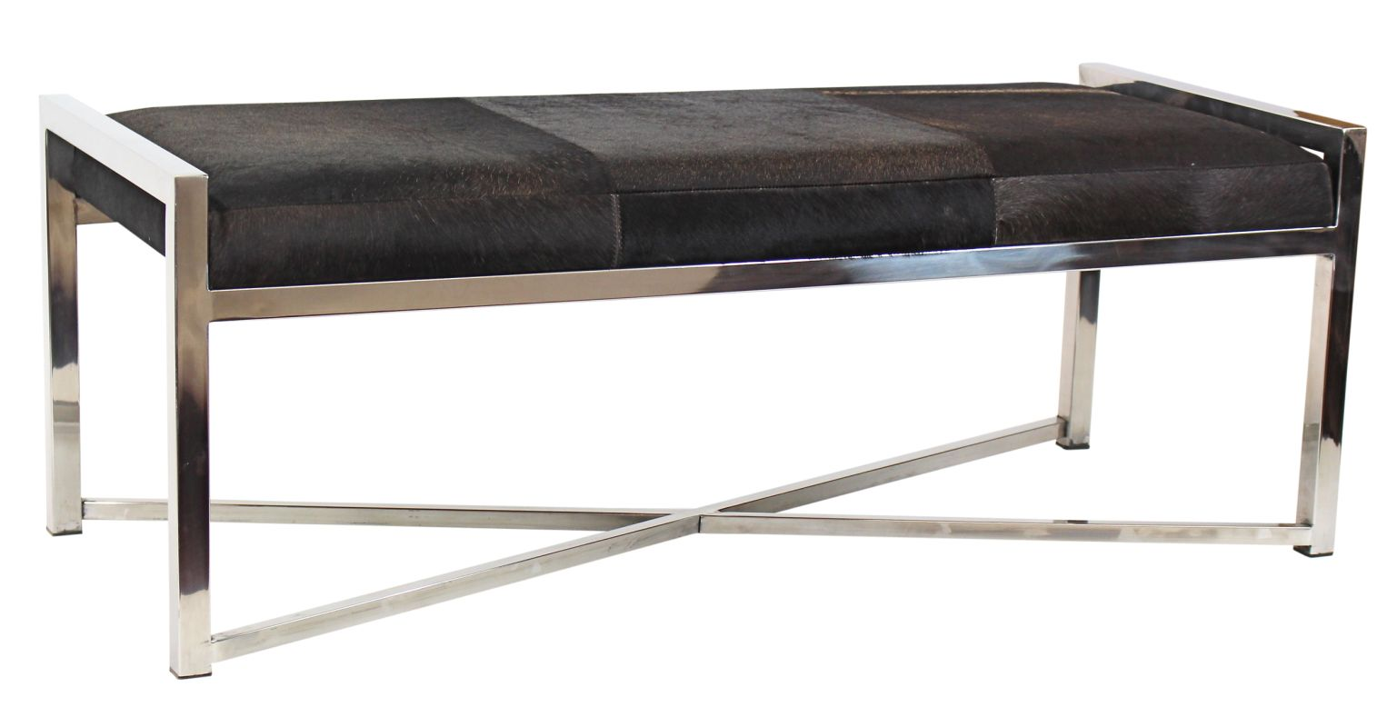 Aspire Home Accents 4507 Garrison Stainless Steel Bench - Brown Silver