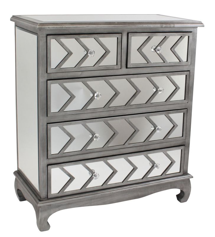 Aspire Home Accents 5262 Davenport Mirrored Chest (Set of 2) Silver