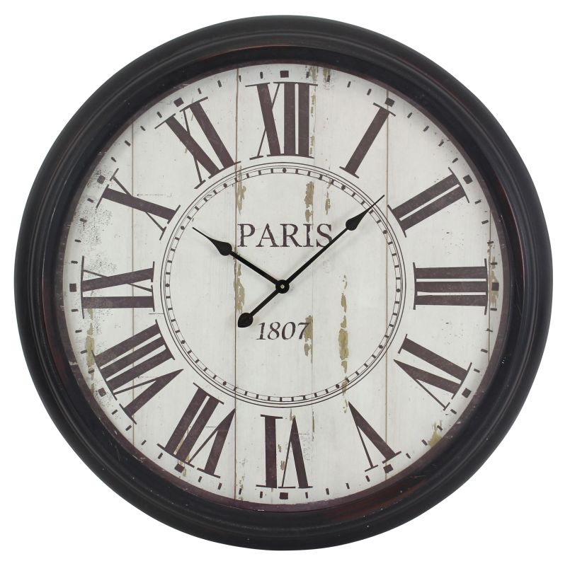 Aspire Home Accents 5314 Constance Round Wall Clock Black Home Decor