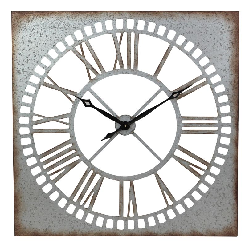 Aspire Home Accents 5642 Ashbury Square Metal Wall Clock Silver Home