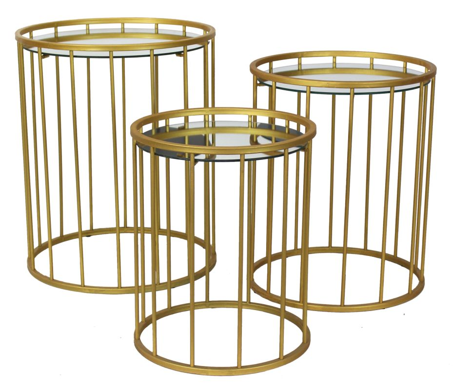 Aspire Home Accents 5937 Solange Gold Accent Tables (Set of 3) Gold