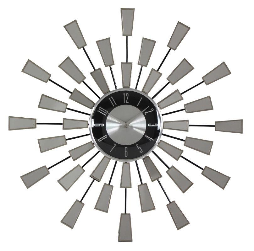 Aspire Home Accents 6432 Levi Contemporary Mirror Wall Clock Silver