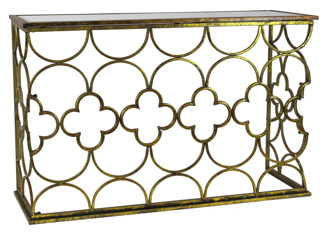 Aspire Home Accents 6723 Myra Gold Metal Console Table Gold Furniture