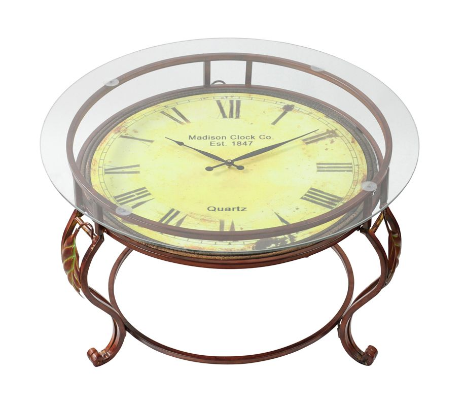 Aspire Home Accents 75648 Cocktail Table with Clock Reddish-Brown