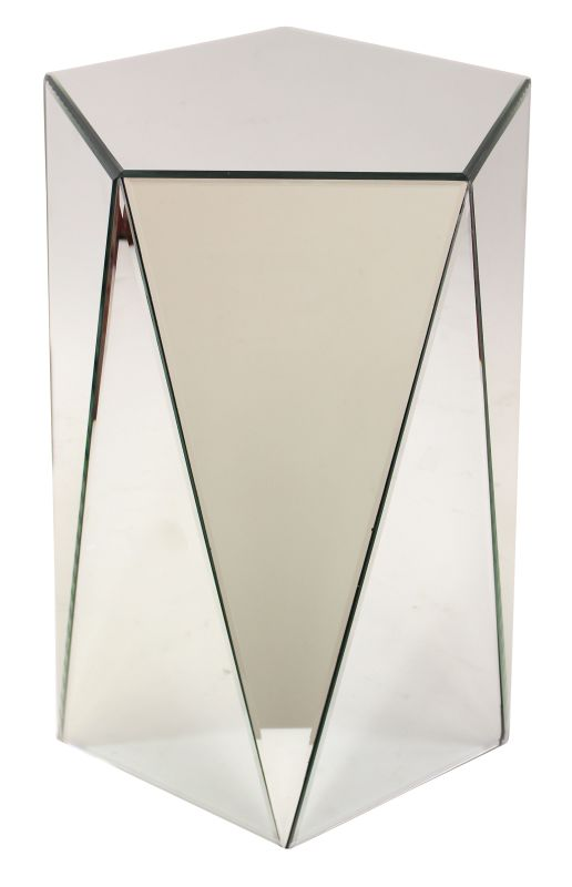 Aspire Home Accents 8189 Avani Mirrored Pedestal Table Clear Furniture