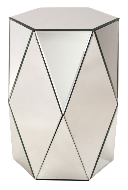 Aspire Home Accents 8920 Sienna Mirrored Pedestal Table Clear