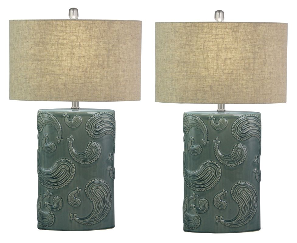 Aspire Home Accents 9727 Talia Cerami Table Lamp (Set of 2) Blue Lamps